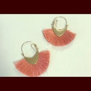 Francesca's Pink Fringe Earrings